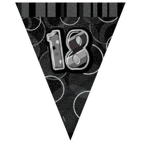 Birthday Black Glitz Number 18 Flag Banner, 9 Ft (special price of 42p)