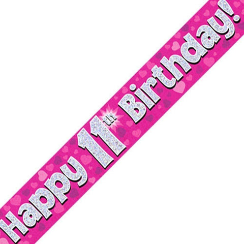 Pink Holographic Foil Age 11th Birthday Party Banner - Wholesale