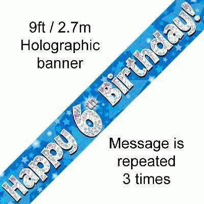 Blue Holographic Foil Birthday Age 6 Banner. Happy 6th Birthday Banner - Wholesale