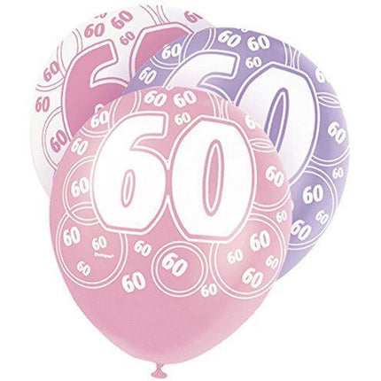 Pink Glitz Latex Balloons Age 60 (Special price of 65p)