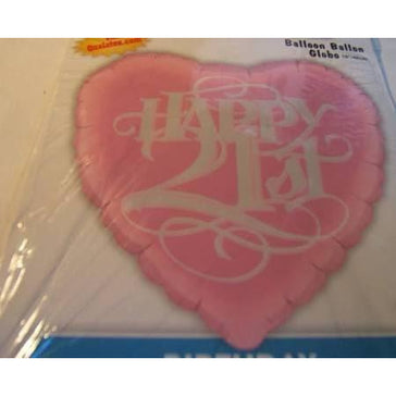 "18"" Happy 21st Pink Heart Foil Balloon Qualatex"