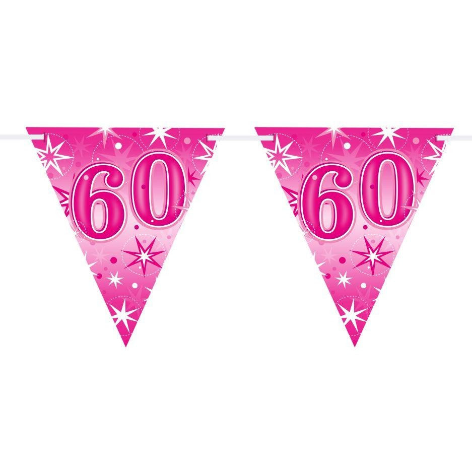 FLAG BANNER 160X190MM,  AGE 60 PINK SPARKLE