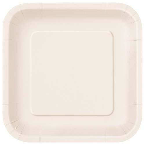 "Ivory Solid Square 7"" Dessert Plates, 16ct"