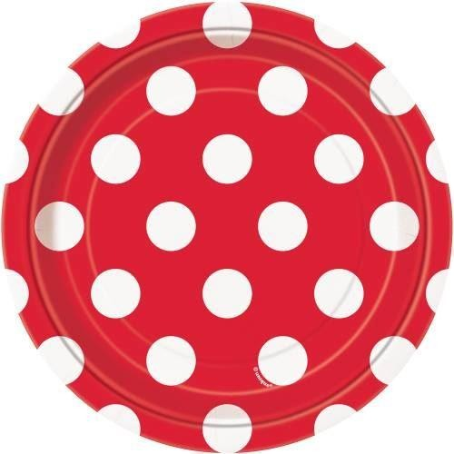 "Ruby Red Dots Round 7"" Dessert Plates, 8ct"