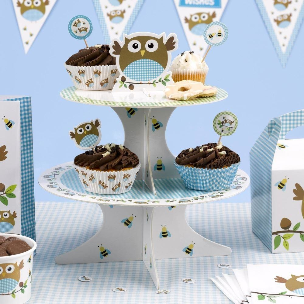 Little Owls - Cake Stand - Blue