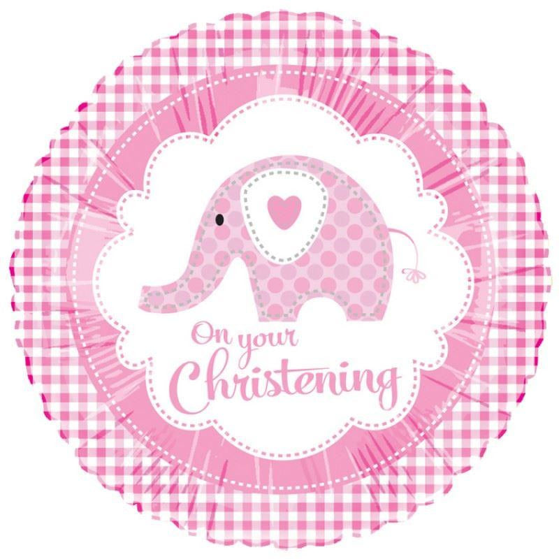 Sweet Pink Christening Elephant Foil Balloon - End of Line July 2018