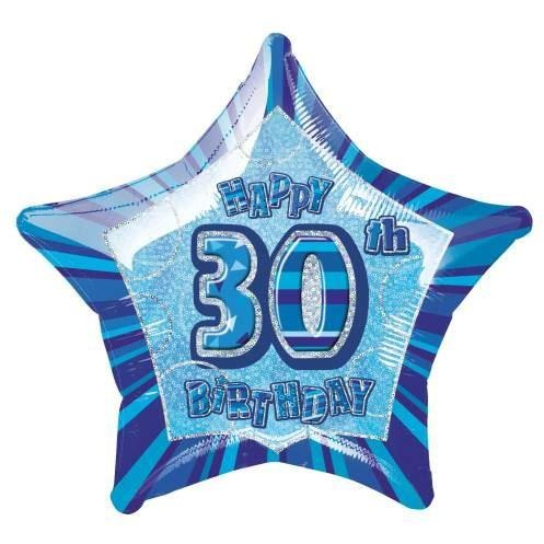 "Blue Star Prism Age 30 Foil Balloon 20"", Packaged"