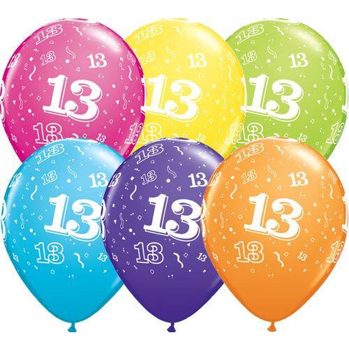 Birthday Latex Balloons Age 13 Retail Pack