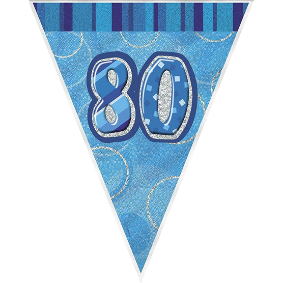 blue glitz 80 flag banner (9ft) (special price of 42p) (Also Upstairs)