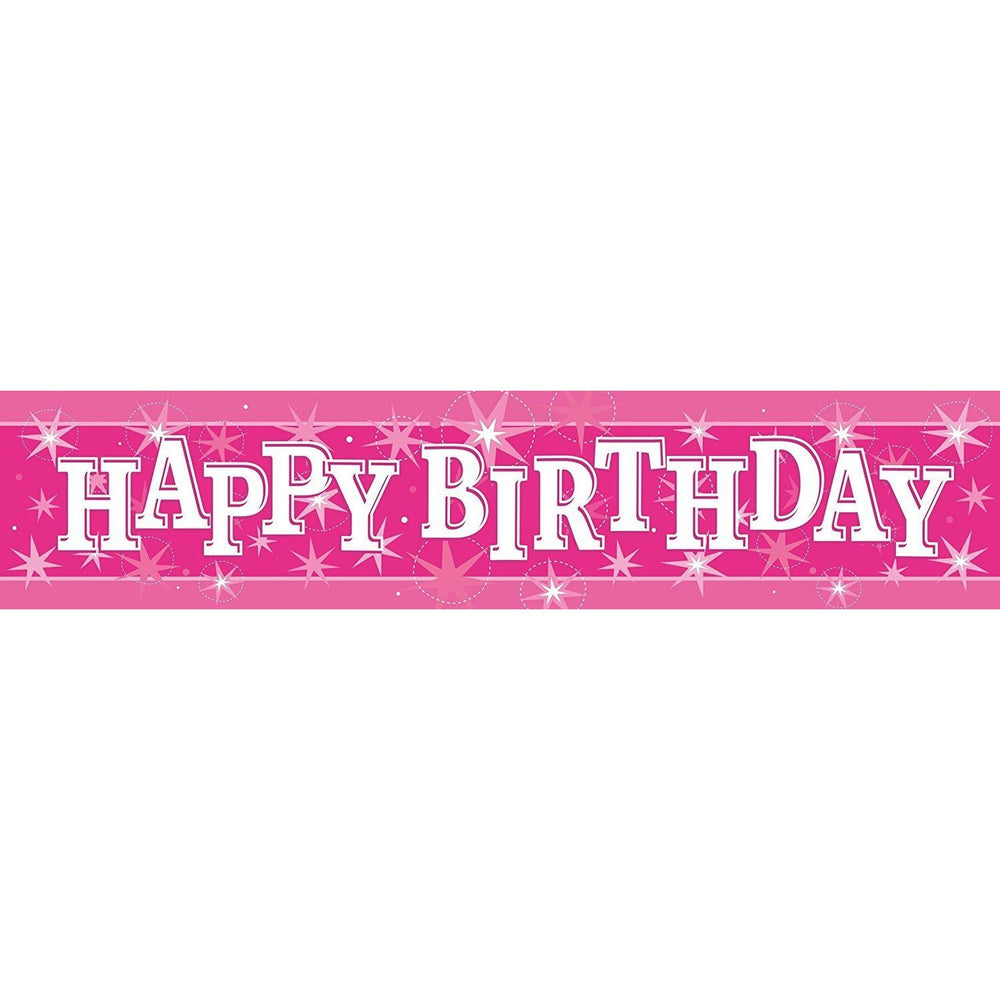 FOIL BANNER 2.6M,  HAPPY BDAY PINK SPARKLE