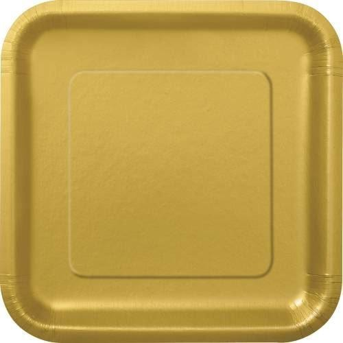 "14 Gold 9"" Square Plates"