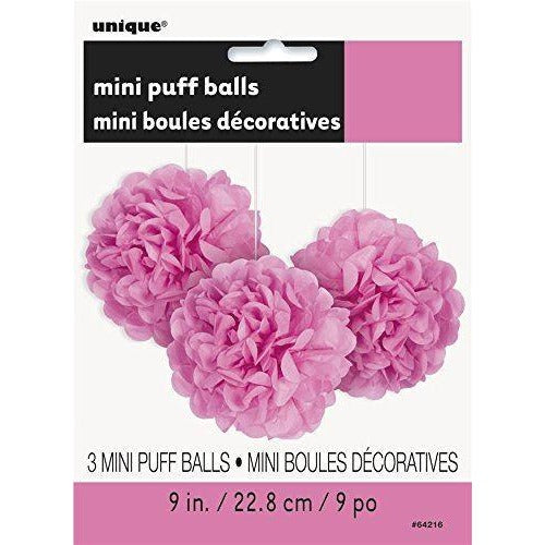 "3 Hot Pink 9"" Mini Puff Decorations  (Also Upstairs)"