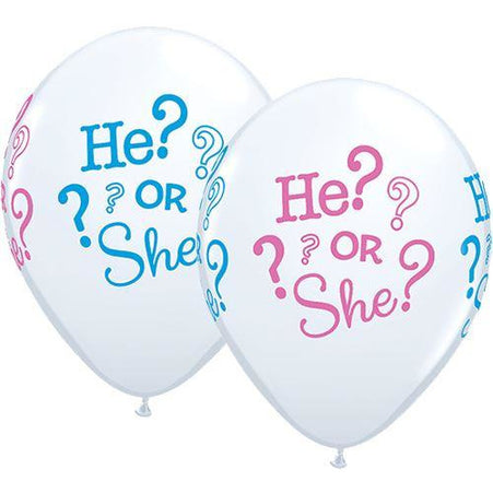 He Or She Latex Balloons X25