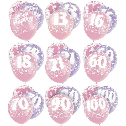 Pink Glitz Latex Balloons Age 100 (Special price of 65p)