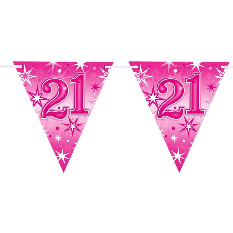 FLAG BANNER 160X190MM,  AGE 21 PINK SPARKLE