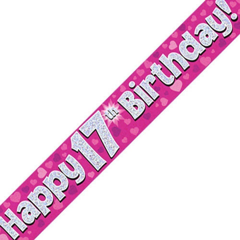 Pink Holographic Foil Birthday Age 17 Banner. Happy 17th Birthday Banner - Wholesale