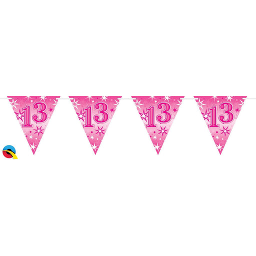 Qualatex Pink Sparkle Bunting Age 13