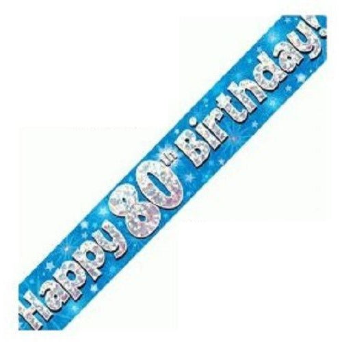 Blue Holographic Foil Birthday Age 80 Banner. Happy 80th Birthday Banner - Wholesale