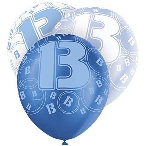 Blue Glitz Latex Balloons Age 13 (Special price of 65p)