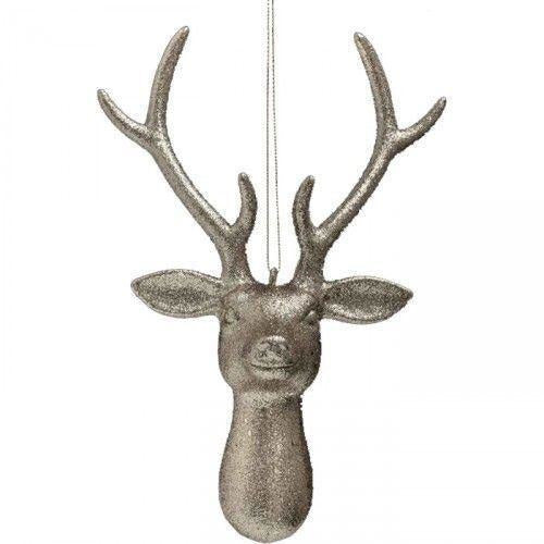 Silver Giltter Stag Head