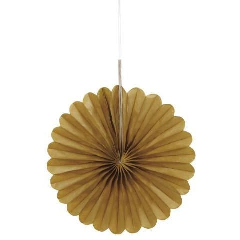 3 Gold Mini Decor Fans