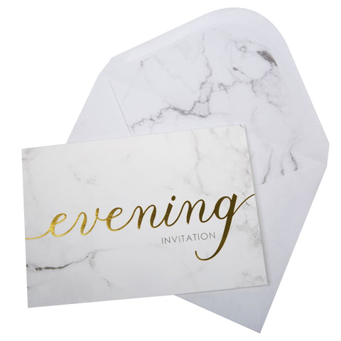 Scripted Marble - Evening Invites with Envelopes - 10