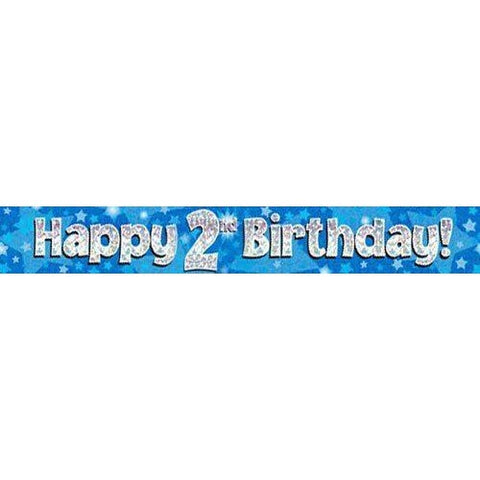Blue Holographic Foil Birthday Age 2 Banner. Happy 2nd Birthday Banner - Wholesale