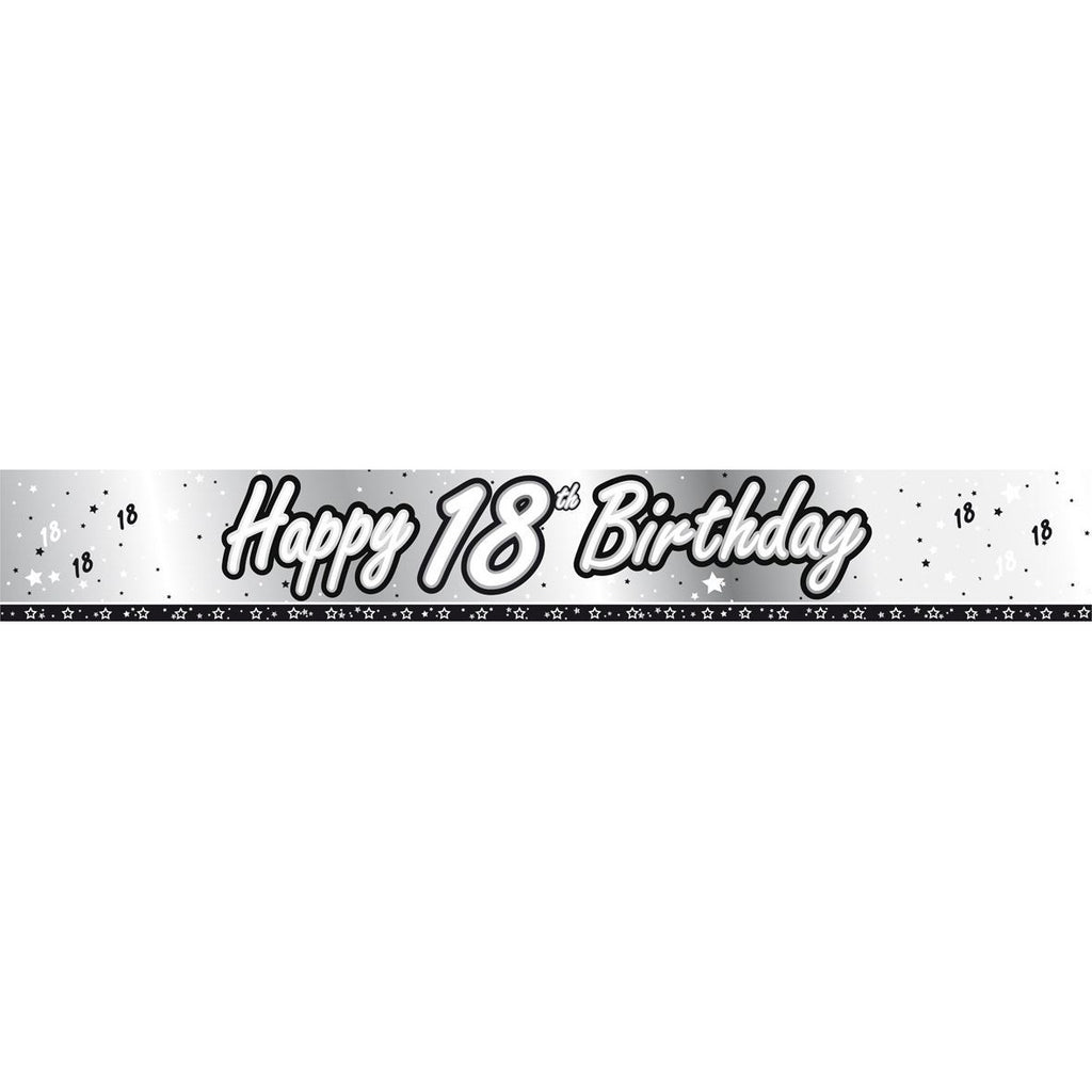 Black & Silver Foil Banner 18th Birthday