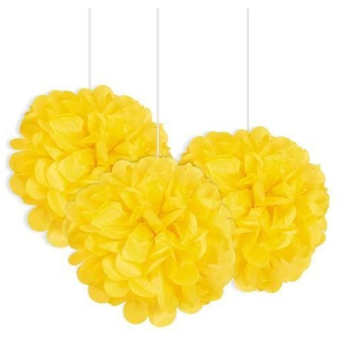"Yellow Mini 9"" Puff Tissue Decorations"