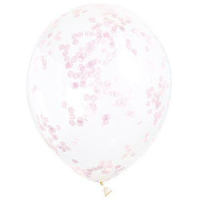 "6 Clear 12"" Balloon With Lovely Pink Confetti"