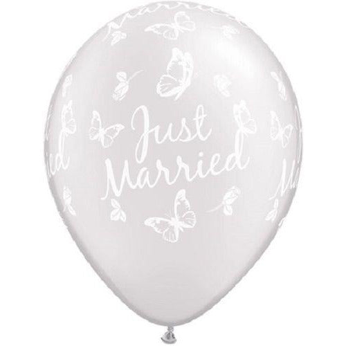 "Just Married Butterflies 11"" Pearl White X5"