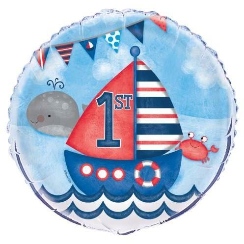 "Little Sailor Nautical First Birthday Round Foil Balloon 18"", Packaged"