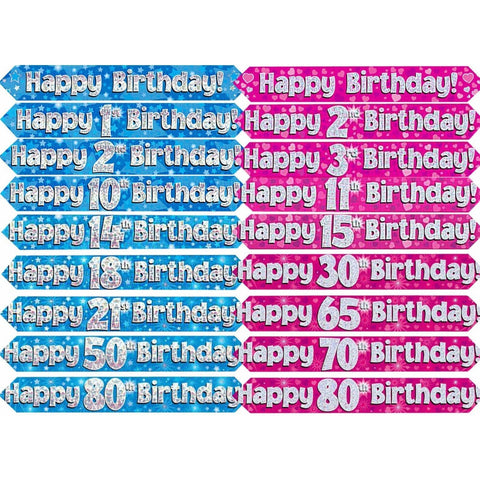 Blue Holographic Foil Birthday Age 70 Banner. Happy 70th Birthday Banner - Wholesale