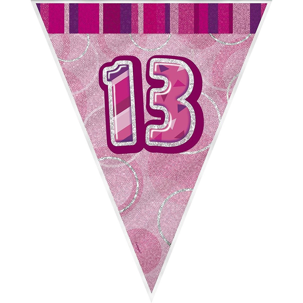 Pink Glitz Flag Banner Age 13 (9ft) (special price of 42p) (Also Upstairs)