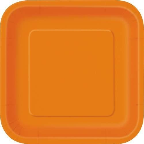 "Pumpkin Orange Solid Square 9"" Dinner Plates, 14ct"
