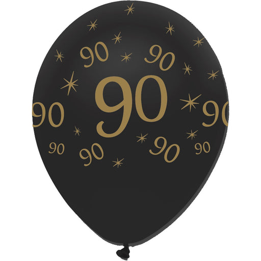 Creative Party Latex Balloons Black & Gold Age 90