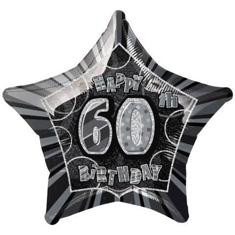 "Black Star Prism Age 60 Foil Balloon 20"", Packaged"