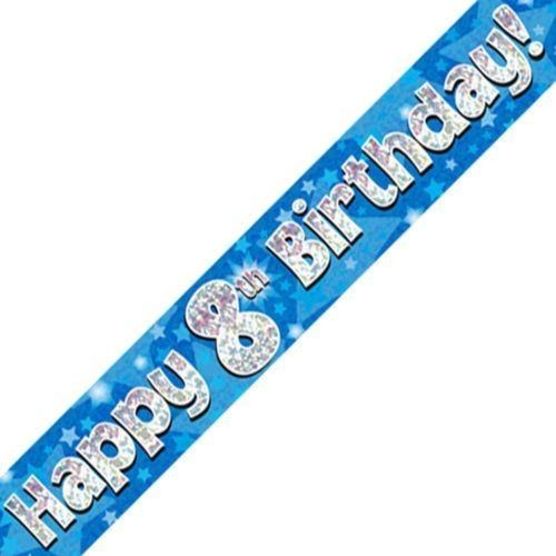 Blue Holographic Foil Birthday Age 8 Banner. Happy 8th Birthday Banner - Wholesale