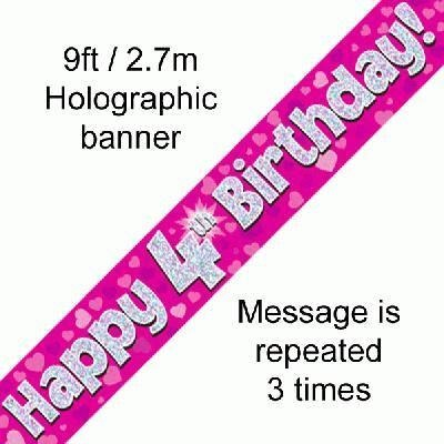 Pink Holographic Foil Birthday Age 4 Banner. Happy 4th Birthday Banner - Wholesale