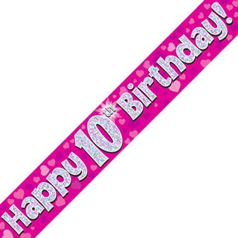 Pink Holographic Foil Birthday and Age Banners. Happy Birthday 10th Party Birthday - Wholesale