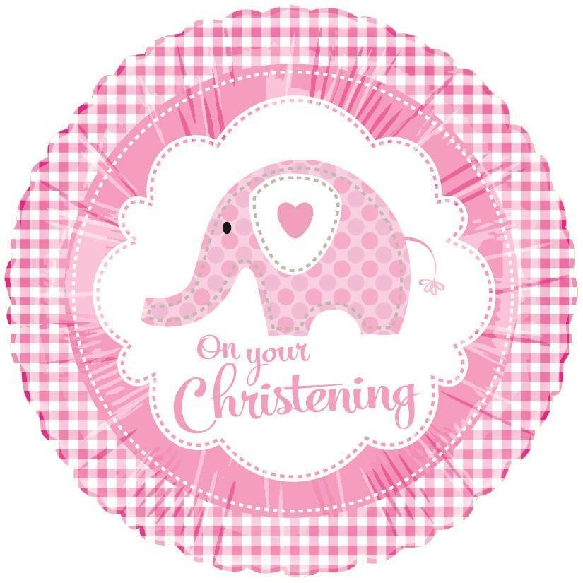 Sweet Pink Christening Elephant Foil Balloon