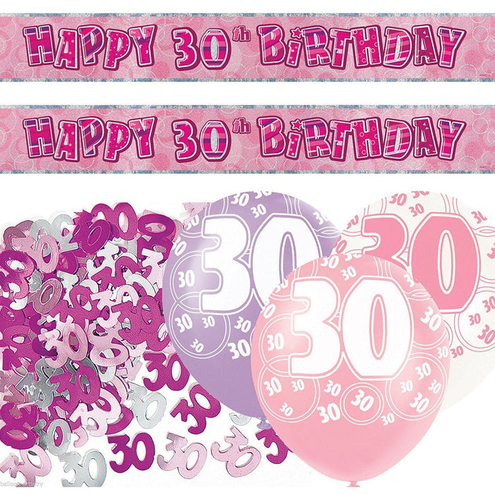 Pink Glitz Prism foil Banner Decoration Pack Age 30 30th