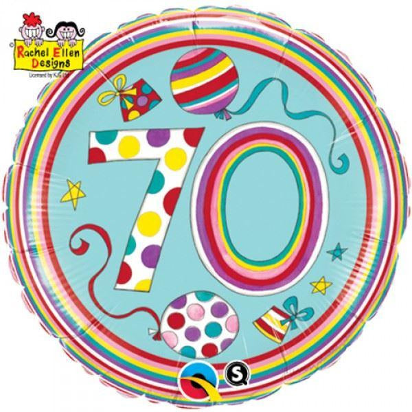"18"" Age 70 Round Foil Balloon Qualatex"