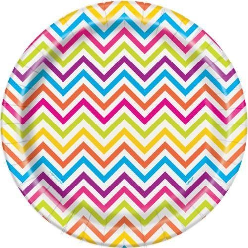 "Rainbow Chevron Round 9"" Dinner Plates, 8ct"