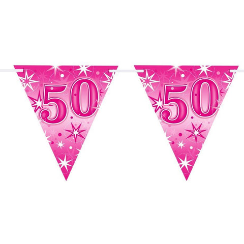 FLAG BANNER 160X190MM,  AGE 50 PINK SPARKLE