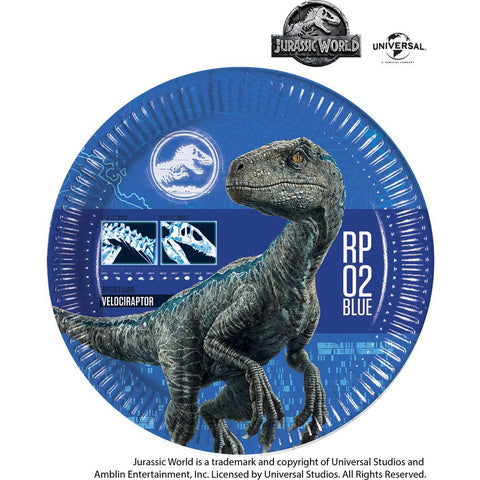 JURASSIC WORLD PLATES PAPER LARGE 23CM 8CT