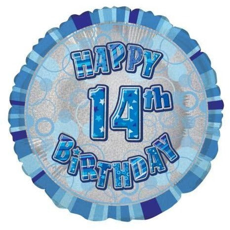 "Birthday Blue Glitz Number 14 Round Foil Balloon 18"", Packaged"