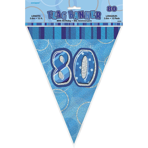 Birthday Blue Glitz Number 80 Flag Banner, 12 Ft