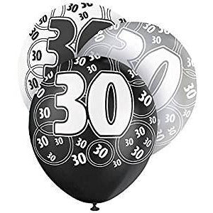 Black glitz Age 30th Latex Balloons (Special price of 65p)