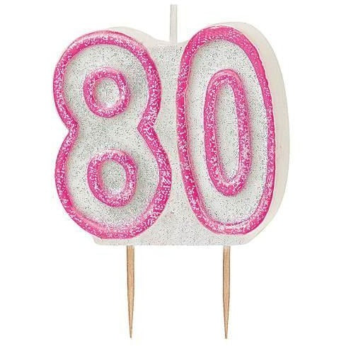 Birthday Pink Glitz Number 80 Numeral Candles
